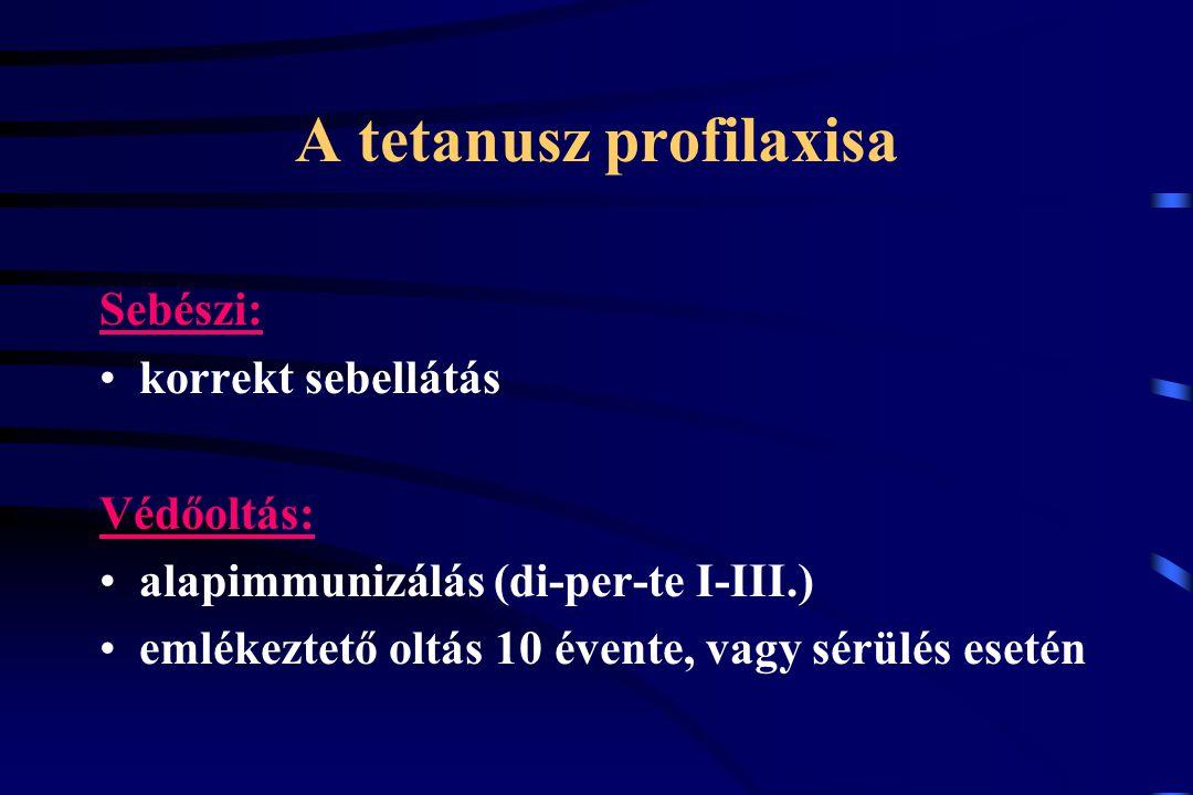 A tetanusz profilaxisa Sebészi: korrekt sebellátás Védőoltás: alapimmunizálás (di-per-te I-III.) emlékeztető oltás 10 évente, vagy sérülés esetén