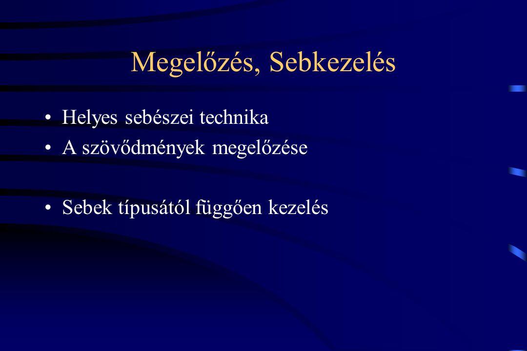 Putrid infekciók Kórokozók: Proteus vulgaris Pseudomonas aeruginosa Escherichia coli Streptococcus pyogenes Clostridium Welchi Kevert fertőzések