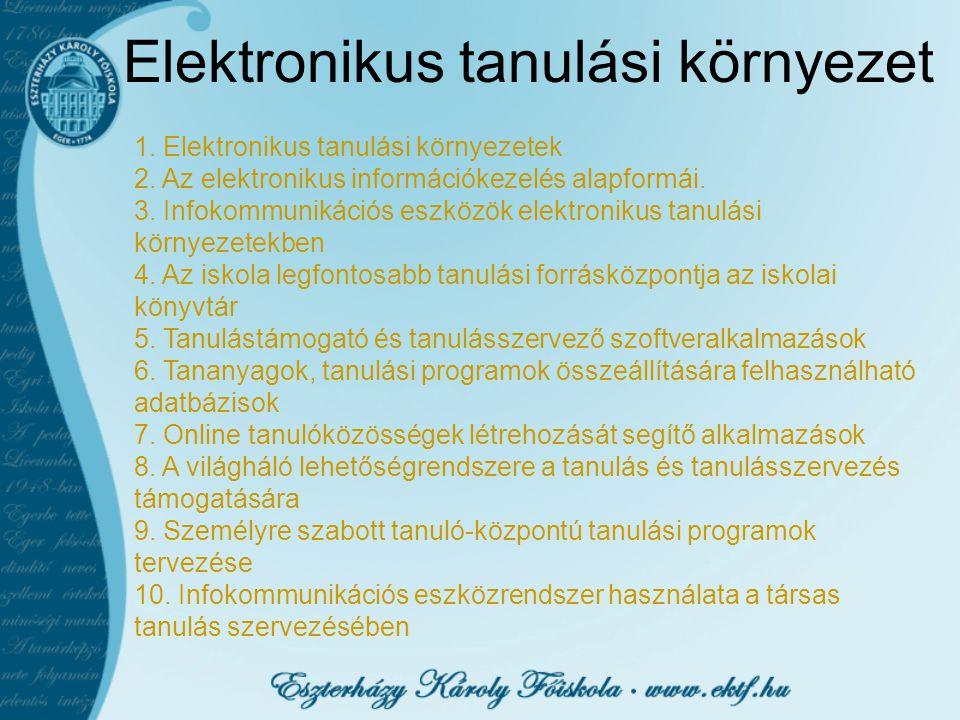 Elektronikus tanulási környezet 1. Elektronikus tanulási környezetek 2. Az elektronikus információkezelés alapformái. 3. Infokommunikációs eszközök el