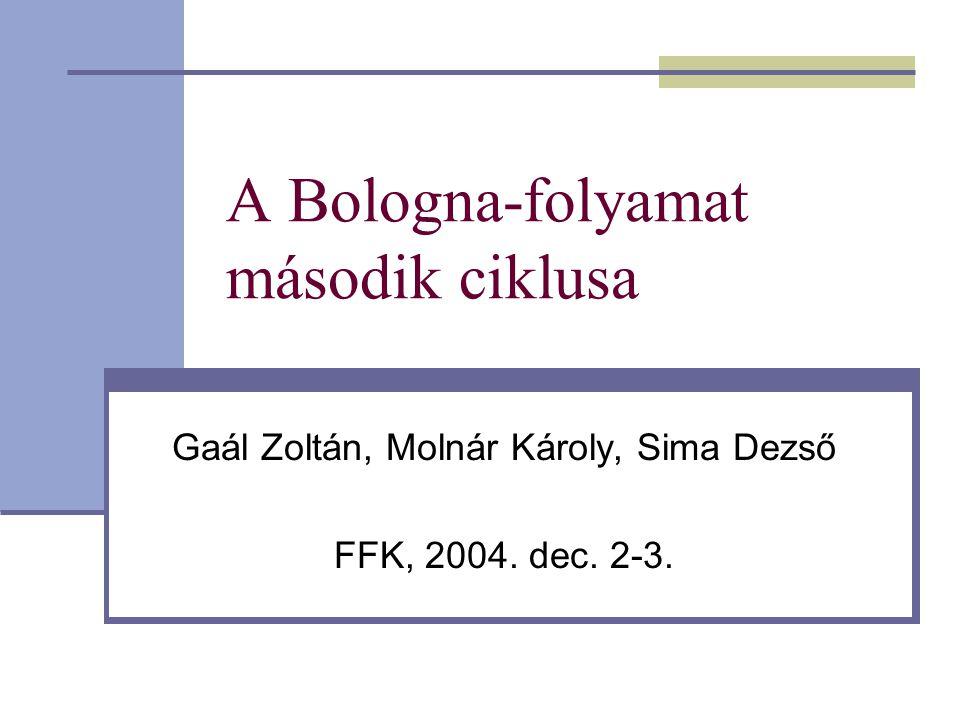A Bologna-folyamat második ciklusa Gaál Zoltán, Molnár Károly, Sima Dezső FFK, 2004. dec. 2-3.