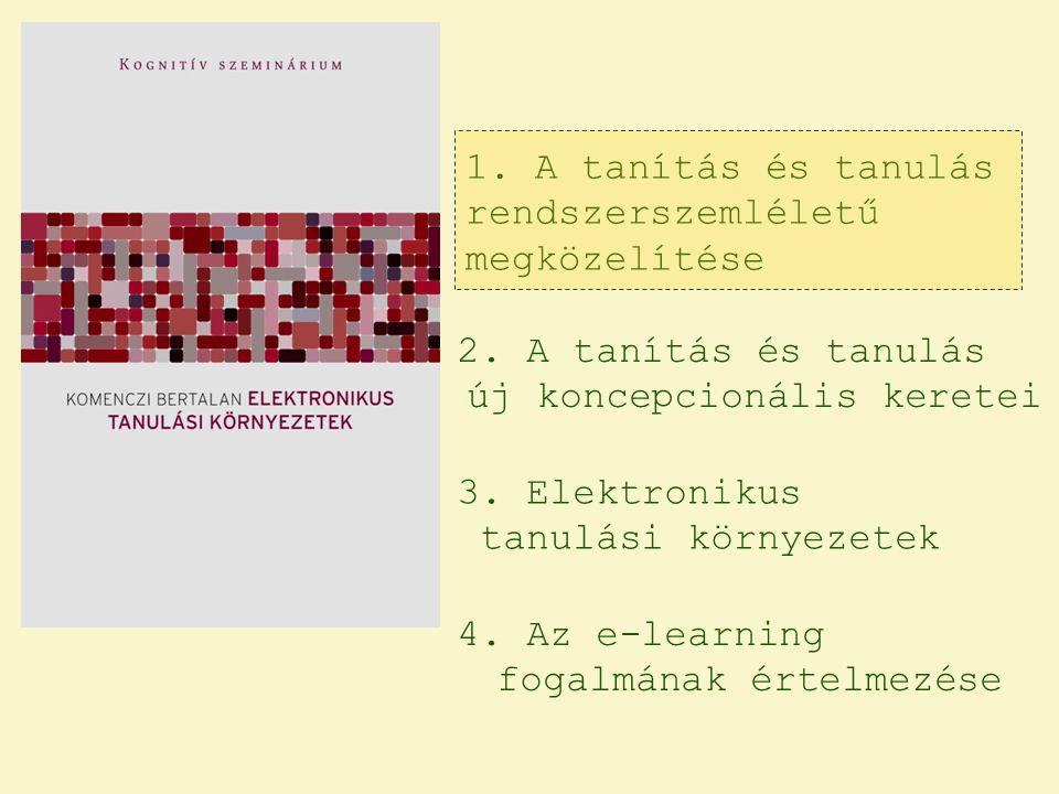 1. A tanítás és tanulás rendszerszemléletű megközelítése 2. A tanítás és tanulás új koncepcionális keretei 3. Elektronikus tanulási környezetek 4. Az