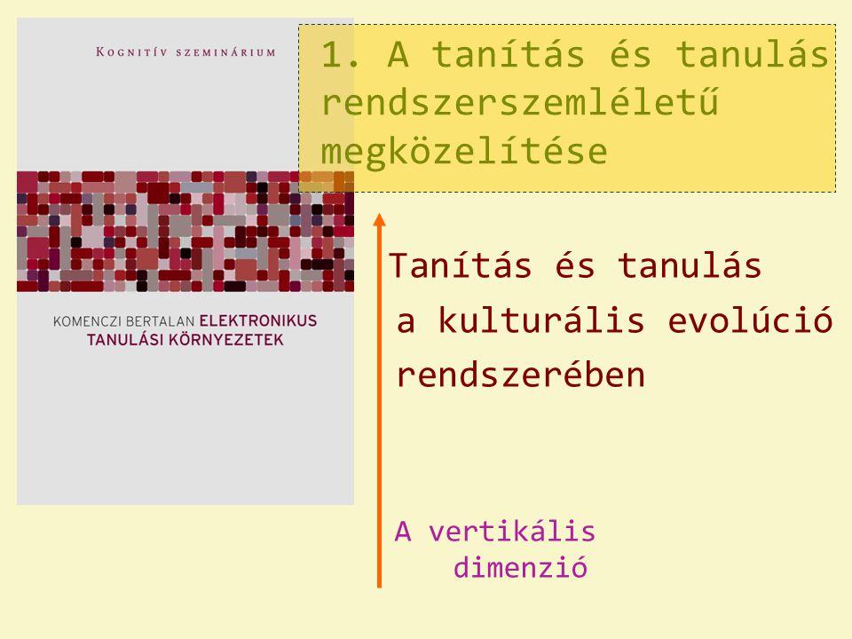 1. A tanítás és tanulás rendszerszemléletű megközelítése Tanítás és tanulás a kulturális evolúció rendszerében A vertikális dimenzió