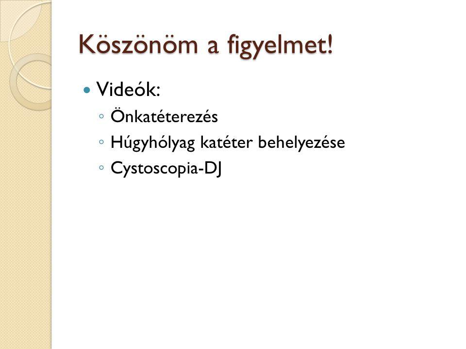 Köszönöm a figyelmet! Videók: ◦ Önkatéterezés ◦ Húgyhólyag katéter behelyezése ◦ Cystoscopia-DJ