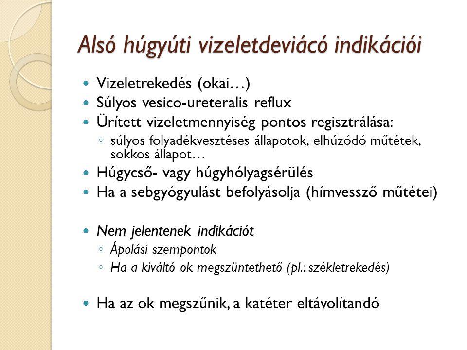 Hólyag vizeletdeviáció típusai (Condom katéter – ápolási szempontok) Intermittáló vagy állandó hólyagkatéter Epicystosoma Cystostomia
