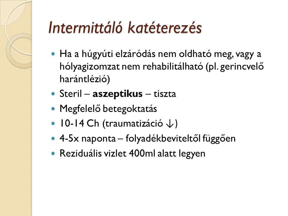 Az állandó húgyhólyag katéter behelyezés eszközei Fertőtlenítő Steril kesztyű vagy csipesz Csúsztató Katéter Ballon felfújásához folyadékkal töltött fecskendő (Katéter kiöltéséhez érzéstelenítő, varróanyag)