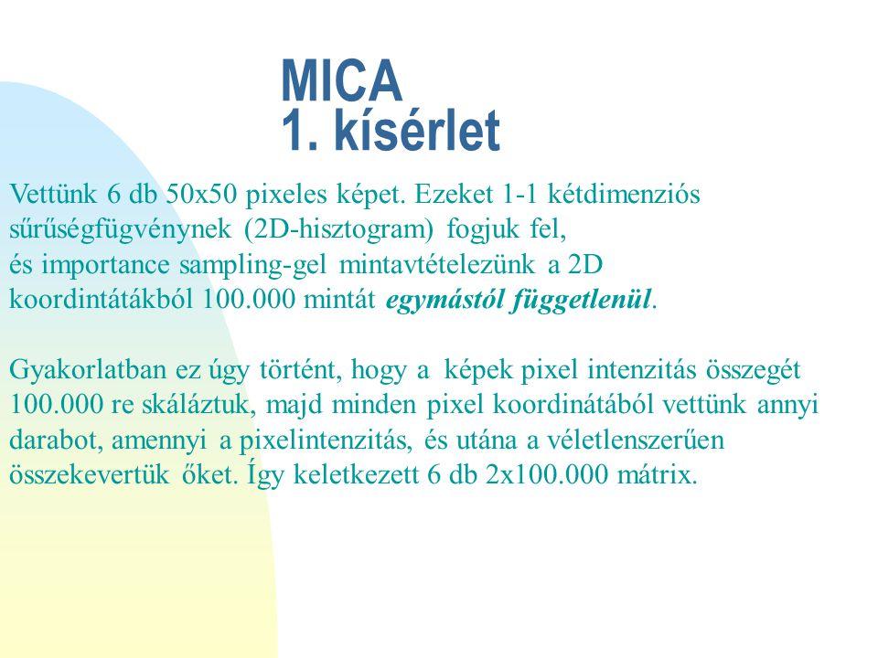 MICA 1. kísérlet Vettünk 6 db 50x50 pixeles képet.