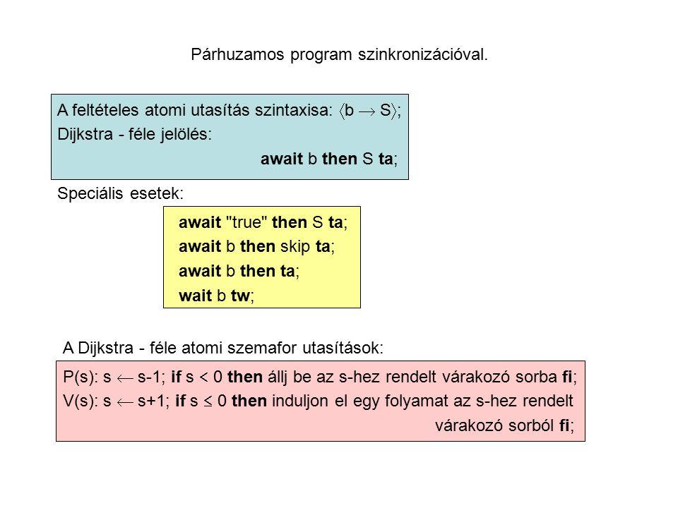 Párhuzamos program szinkronizációval.