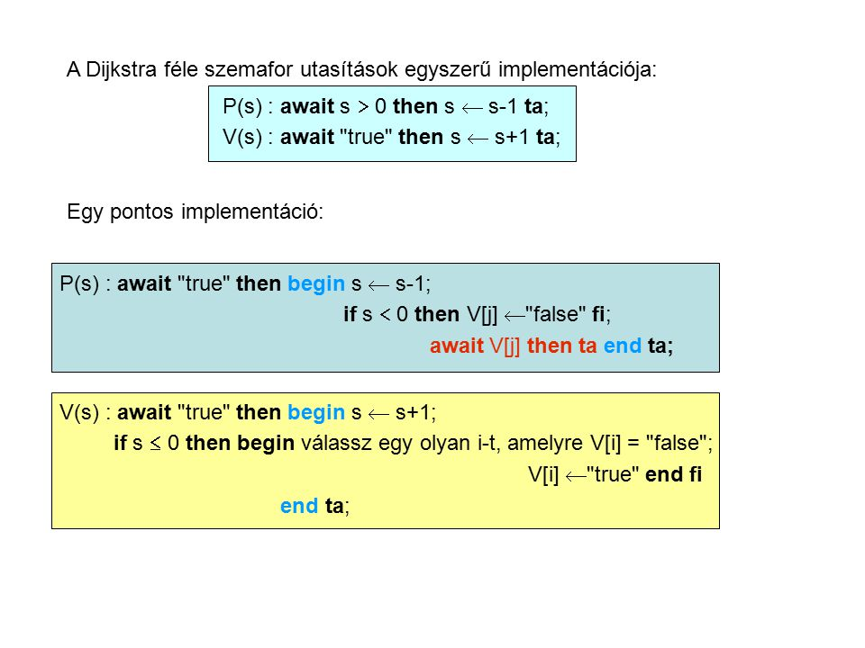 A Dijkstra féle szemafor utasítások egyszerű implementációja: P(s) : await s  0 then s  s-1 ta; V(s) : await true then s  s+1 ta; Egy pontos implementáció: P(s) : await true then begin s  s-1; if s  0 then V[j]  false fi; await V[j] then ta end ta; V(s) : await true then begin s  s+1; if s  0 then begin válassz egy olyan i-t, amelyre V[i] = false ; V[i]  true end fi end ta;