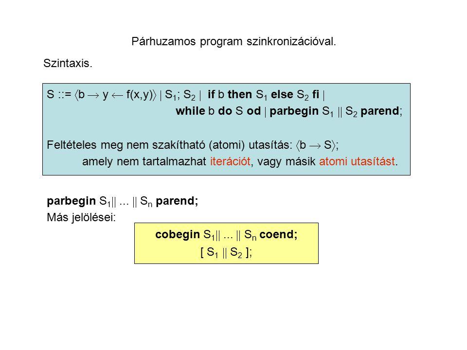 Párhuzamos program szinkronizációval. Szintaxis.