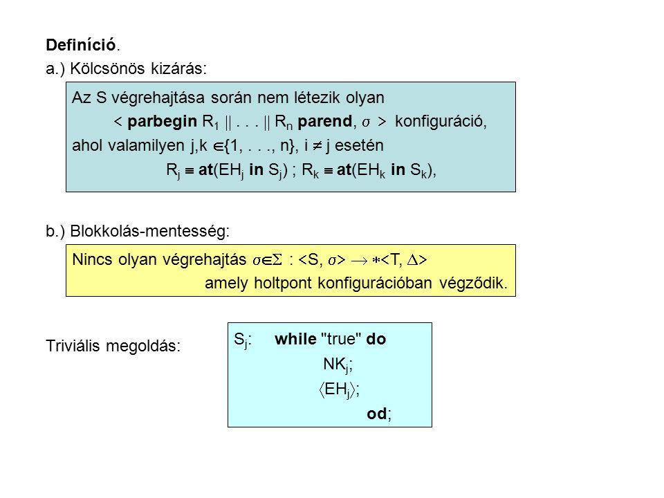 Definíció. a.) Kölcsönös kizárás: Az S végrehajtása során nem létezik olyan  parbegin R 1 ...  R n parend,   konfiguráció, ahol valamilyen j,k