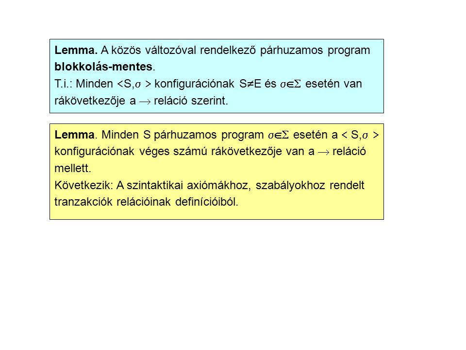 Lemma. A közös változóval rendelkező párhuzamos program blokkolás-mentes. T.i.: Minden  S,   konfigurációnak S  E és  esetén van rákövetkezője