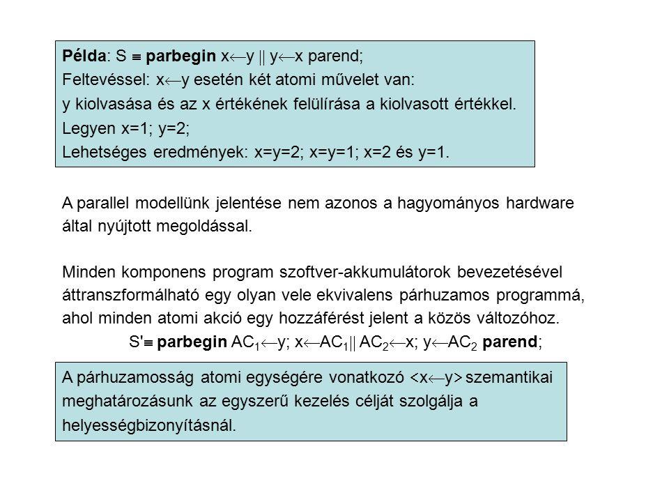 Példa: S  parbegin x  y  y  x parend; Feltevéssel: x  y esetén két atomi művelet van: y kiolvasása és az x értékének felülírása a kiolvasott ért