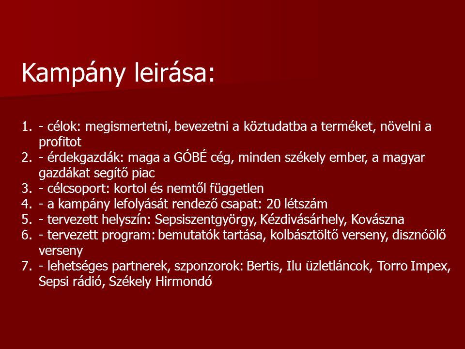 Kampány leirása: 1.- célok: megismertetni, bevezetni a köztudatba a terméket, növelni a profitot 2.- érdekgazdák: maga a GÓBÉ cég, minden székely ember, a magyar gazdákat segítő piac 3.- célcsoport: kortol és nemtől független 4.- a kampány lefolyását rendező csapat: 20 létszám 5.- tervezett helyszín: Sepsiszentgyörgy, Kézdivásárhely, Kovászna 6.- tervezett program: bemutatók tartása, kolbásztöltő verseny, disznóölő verseny 7.- lehetséges partnerek, szponzorok: Bertis, Ilu üzletláncok, Torro Impex, Sepsi rádió, Székely Hirmondó
