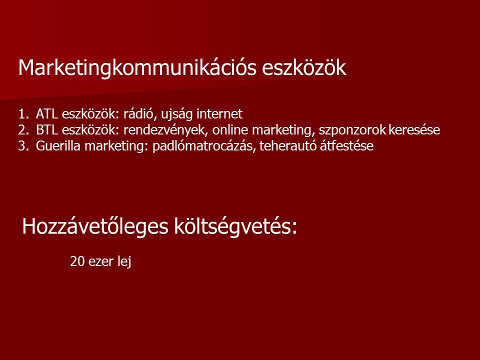 Marketingkommunikációs eszközök 1.ATL eszközök: rádió, ujság internet 2.BTL eszközök: rendezvények, online marketing, szponzorok keresése 3.Guerilla marketing: padlómatrocázás, teherautó átfestése Hozzávetőleges költségvetés: 20 ezer lej