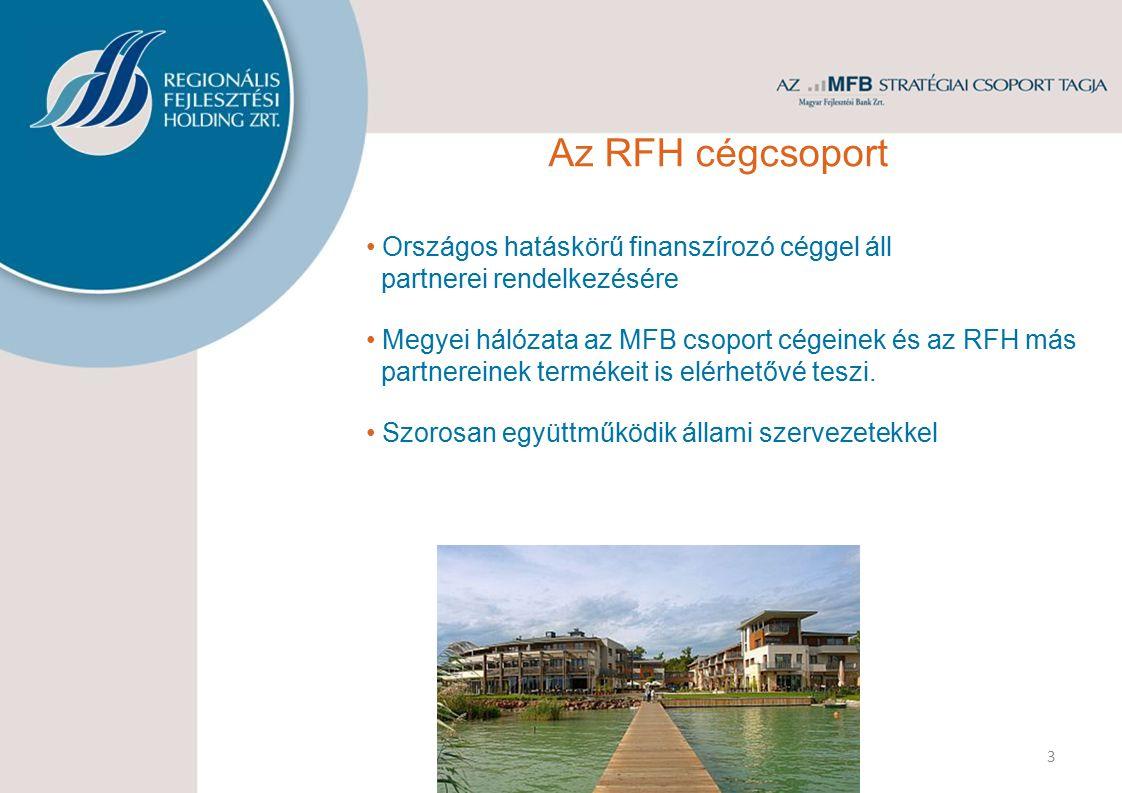 3 Országos hatáskörű finanszírozó céggel áll partnerei rendelkezésére Megyei hálózata az MFB csoport cégeinek és az RFH más partnereinek termékeit is