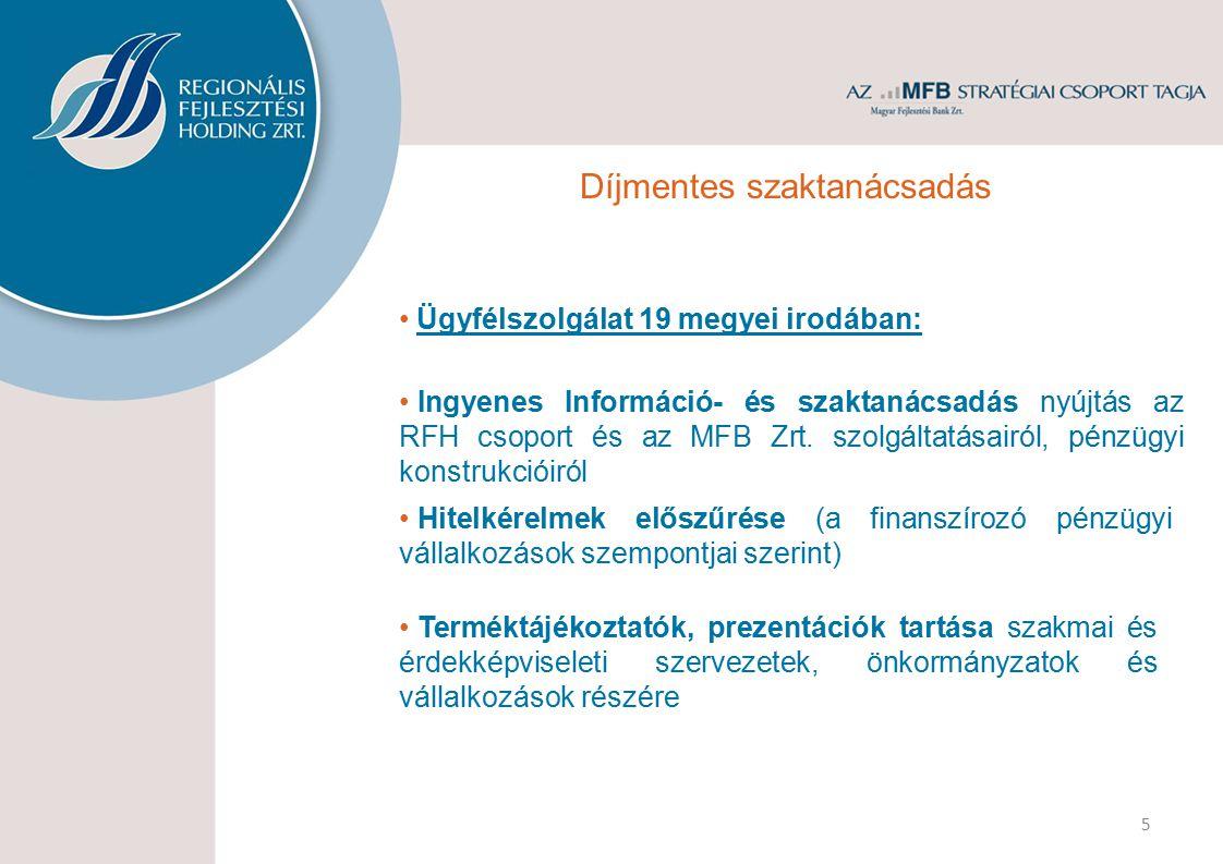Ügyfélszolgálat 19 megyei irodában: Hitelkérelmek előszűrése (a finanszírozó pénzügyi vállalkozások szempontjai szerint) Terméktájékoztatók, prezentác