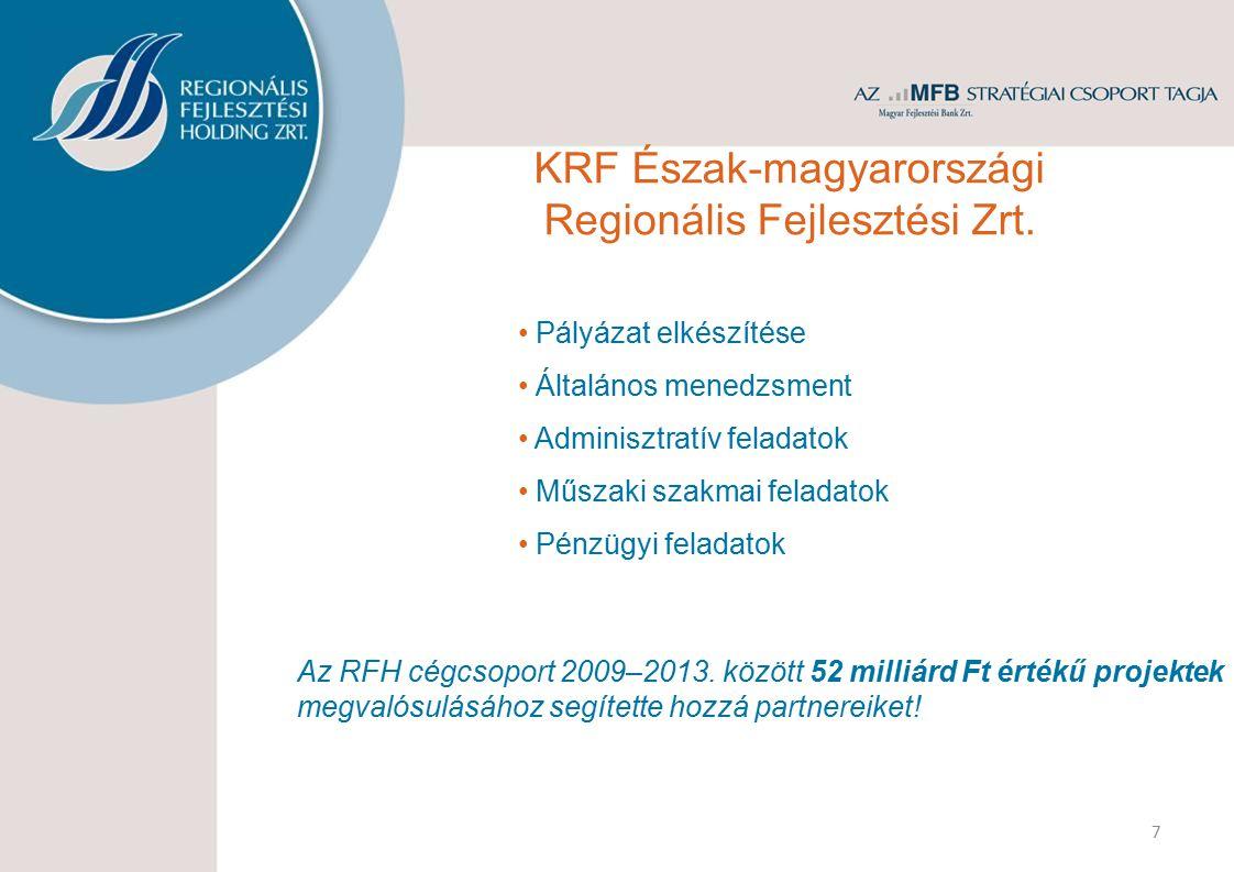 7 Pályázat elkészítése Általános menedzsment Adminisztratív feladatok Műszaki szakmai feladatok Pénzügyi feladatok Az RFH cégcsoport 2009–2013. között