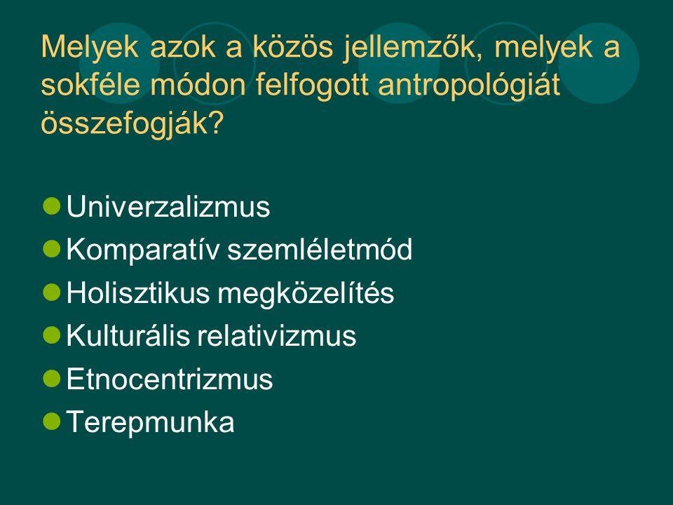 Melyek azok a közös jellemzők, melyek a sokféle módon felfogott antropológiát összefogják.