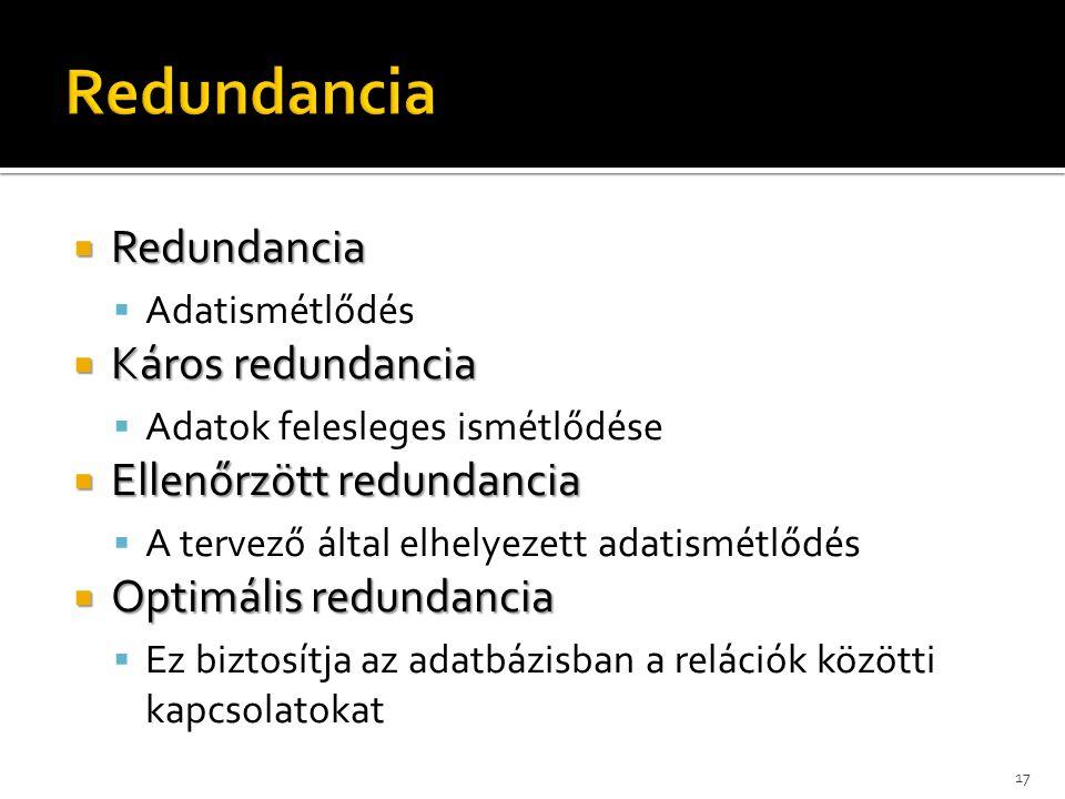  Redundancia  Adatismétlődés  Káros redundancia  Adatok felesleges ismétlődése  Ellenőrzött redundancia  A tervező által elhelyezett adatismétlődés  Optimális redundancia  Ez biztosítja az adatbázisban a relációk közötti kapcsolatokat 17