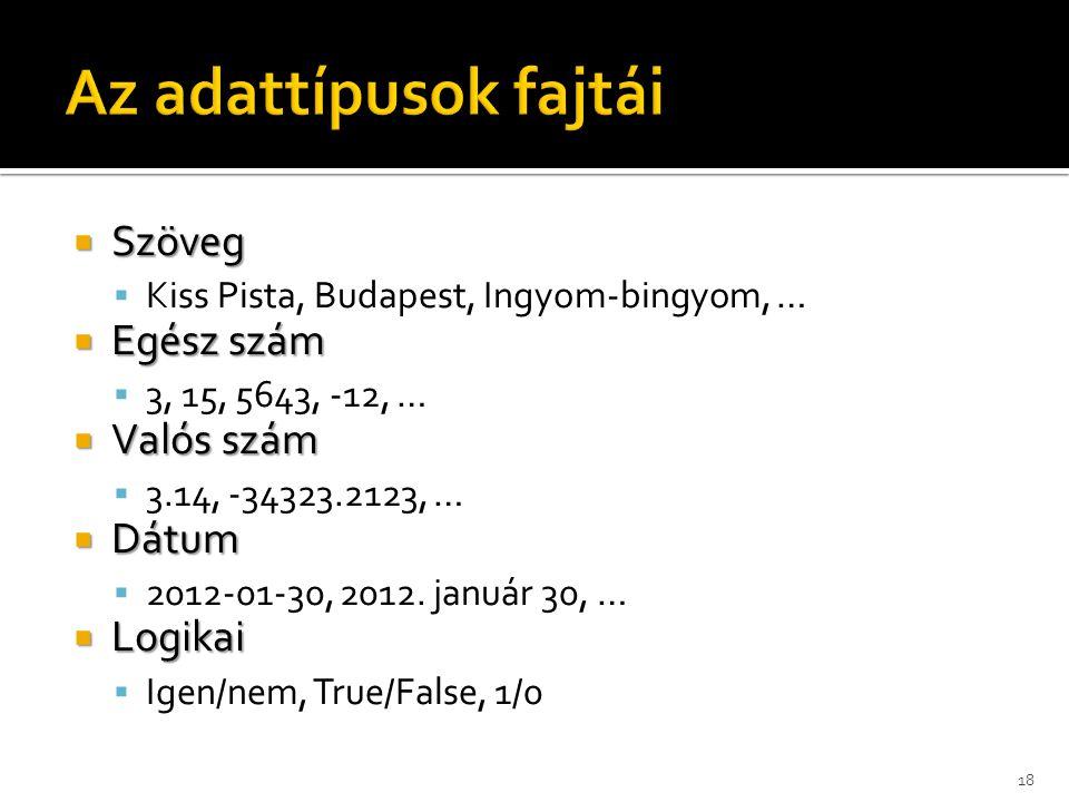  Szöveg  Kiss Pista, Budapest, Ingyom-bingyom, …  Egész szám  3, 15, 5643, -12, …  Valós szám  3.14, -34323.2123, …  Dátum  2012-01-30, 2012.