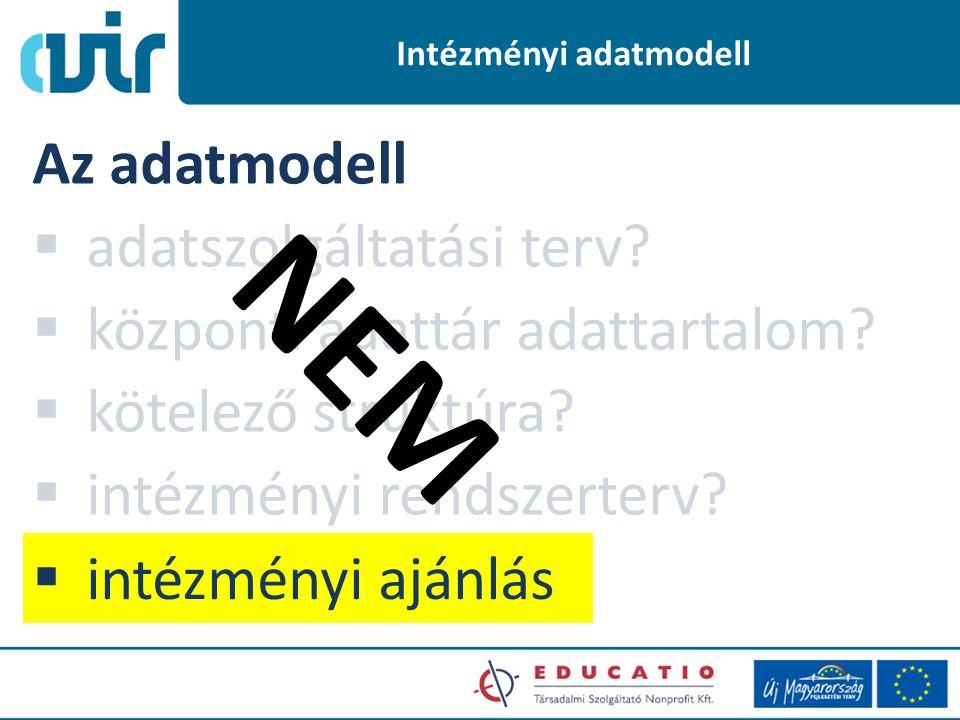 Intézményi adatmodell Az adatmodell  adatszolgáltatási terv.