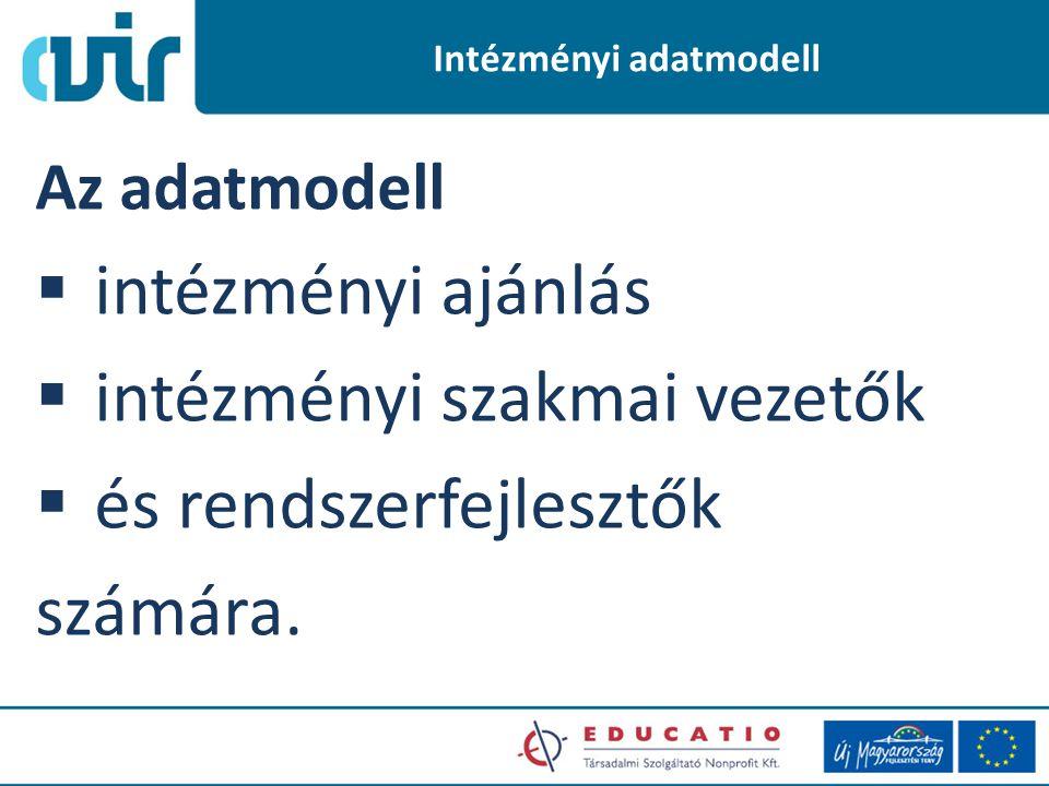 Intézményi adatmodell Az adatmodell  intézményi ajánlás  intézményi szakmai vezetők  és rendszerfejlesztők számára.