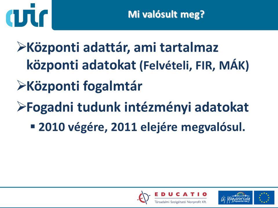  Központi adattár, ami tartalmaz központi adatokat (Felvételi, FIR, MÁK)  Központi fogalmtár  Fogadni tudunk intézményi adatokat  2010 végére, 2011 elejére megvalósul.