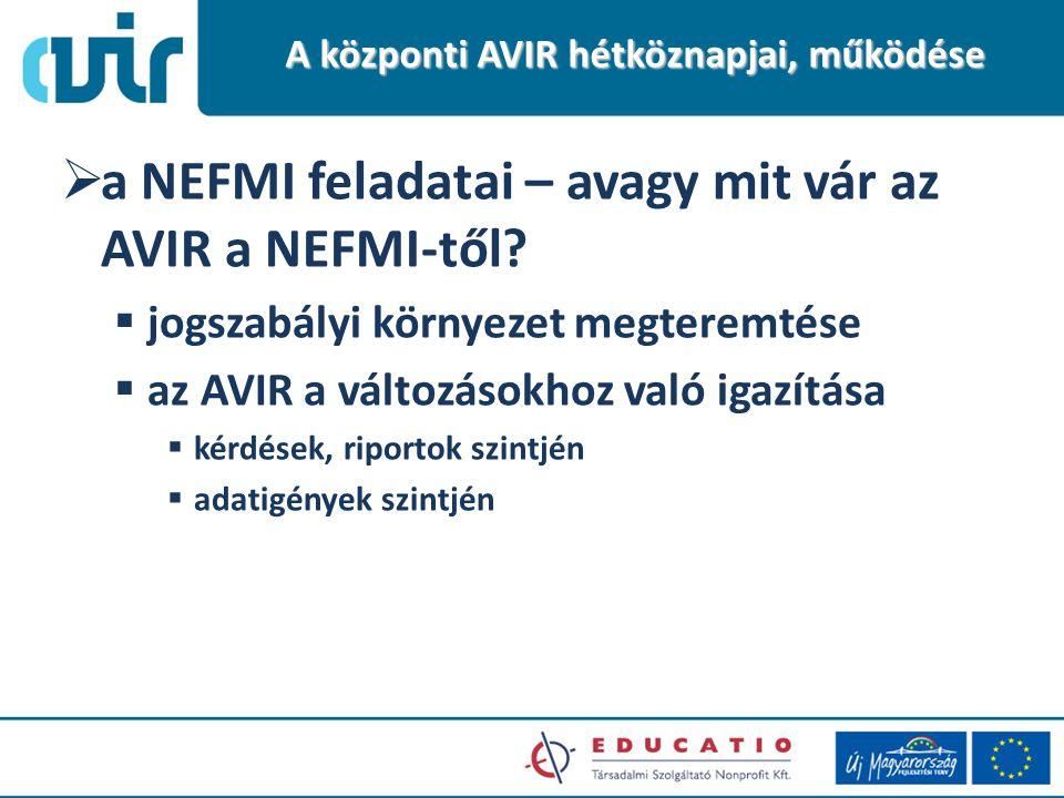  a NEFMI feladatai – avagy mit vár az AVIR a NEFMI-től.