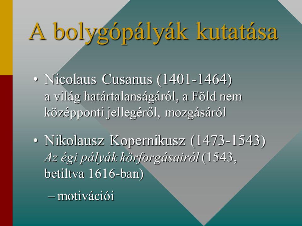 A bolygópályák kutatása Nicolaus Cusanus (1401-1464) a világ határtalanságáról, a Föld nem középponti jellegéről, mozgásárólNicolaus Cusanus (1401-1464) a világ határtalanságáról, a Föld nem középponti jellegéről, mozgásáról Nikolausz Kopernikusz (1473-1543) Az égi pályák körforgásairól (1543, betiltva 1616-ban)Nikolausz Kopernikusz (1473-1543) Az égi pályák körforgásairól (1543, betiltva 1616-ban) –motivációi