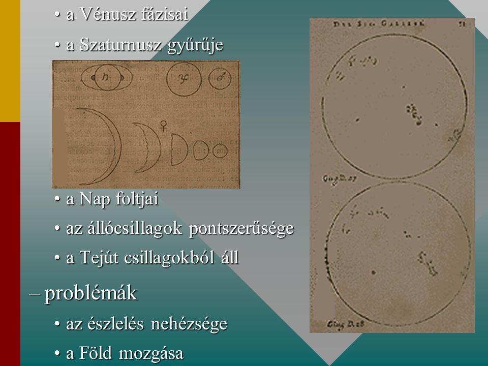 a Vénusz fázisaia Vénusz fázisai a Szaturnusz gyűrűjea Szaturnusz gyűrűje a Nap foltjaia Nap foltjai az állócsillagok pontszerűségeaz állócsillagok pontszerűsége a Tejút csillagokból álla Tejút csillagokból áll –problémák az észlelés nehézségeaz észlelés nehézsége a Föld mozgásaa Föld mozgása