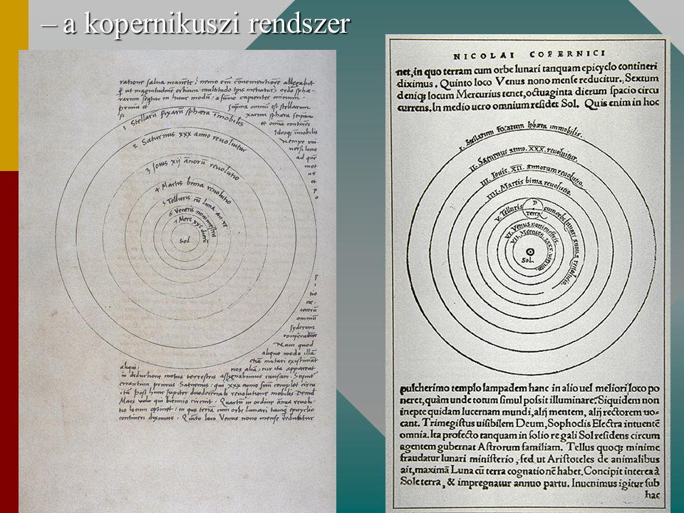 –következmények a bolygók relatív távolságaa bolygók relatív távolságaKopernikusz Mai értékek Merkúr0.37630.3871 Vénusz0.71930.7233 Föld1.00001.0000 Mars1.51981.5237 Jupiter5.21925.2028 Szaturnusz9.17429.5389