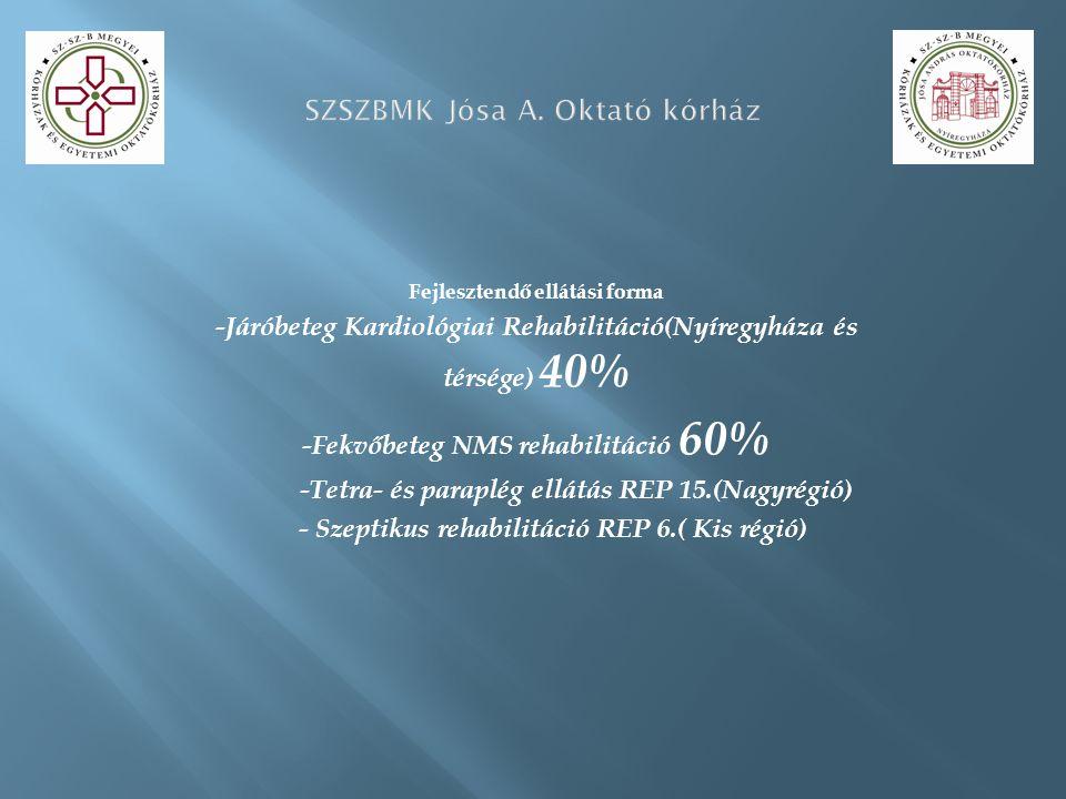 Fejlesztendő ellátási forma -Járóbeteg Kardiológiai Rehabilitáció(Nyíregyháza és térsége) 40% -Fekvőbeteg NMS rehabilitáció 60% -Tetra- és paraplég ellátás REP 15.(Nagyrégió) - Szeptikus rehabilitáció REP 6.( Kis régió)