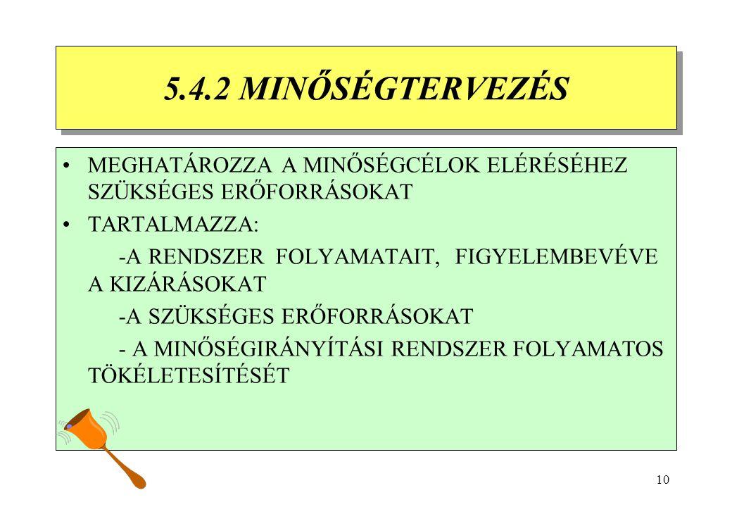9 5.4 TERVEZÉS 5.4.1 MINŐSÉGCÉLOK 5.4 TERVEZÉS 5.4.1 MINŐSÉGCÉLOK A FELSŐVEZETÉS GONDOSKODIK A MINŐSÉGCÉLOK KITŰZÉSÉRŐL A MINŐSÉGCÉLOK MÉRHETŐK ÉS ÖSS