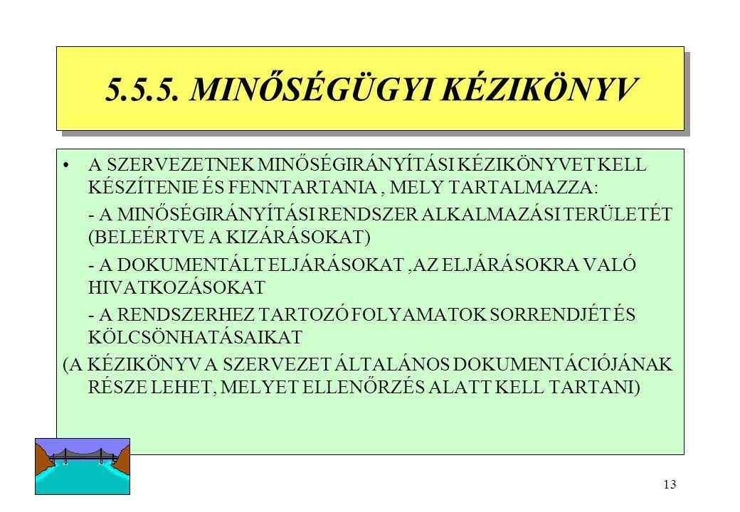 12 5.5.3 A VEZETŐSÉG KÉPVISELŐJE KI KELL JELÖLNI A VEZETŐSÉG (EGY) TAGJÁT ( TAGJAIT), AKI EGYÉB FELELŐSSÉGEITŐL FÜGGETLENÜL MEGHATÁROZOTT MINŐSÉGÜGYI