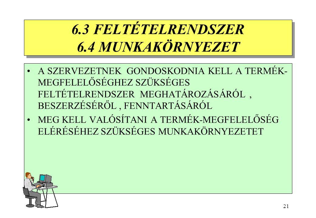 20 6.2 EMBERI ERŐFORRÁSOK 6.2.1 SZEMÉLYZET KIVÁLASZTÁSA 6.2.2 KÉPZÉS -MEG KELL HATÁROZNI A SZEMÉLYZET SZÜKSÉGES FELKÉSZÜLTSÉGÉT -GONDOSKODNI KELL A ME