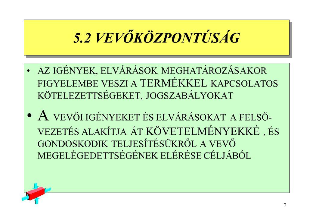 7 5.2 VEVŐKÖZPONTÚSÁG 5.2 VEVŐKÖZPONTÚSÁG AZ IGÉNYEK, ELVÁRÁSOK MEGHATÁROZÁSAKOR FIGYELEMBE VESZI A TERMÉKKEL KAPCSOLATOS KÖTELEZETTSÉGEKET, JOGSZABÁLYOKAT A VEVŐI IGÉNYEKET ÉS ELVÁRÁSOKAT A FELSŐ- VEZETÉS ALAKÍTJA ÁT KÖVETELMÉNYEKKÉ, ÉS GONDOSKODIK TELJESÍTÉSÜKRŐL A VEVŐ MEGELÉGEDETTSÉGÉNEK ELÉRÉSE CÉLJÁBÓL