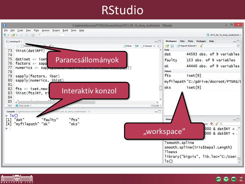 """RStudio Parancsállományok Interaktív konzol """"workspace"""""""