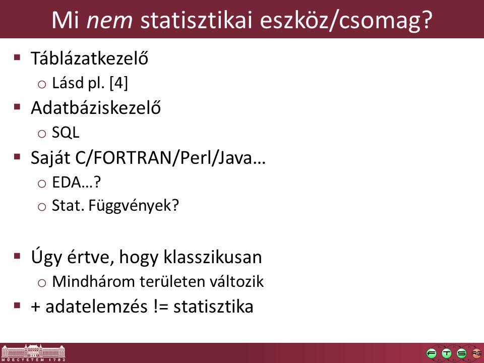 Mi nem statisztikai eszköz/csomag?  Táblázatkezelő o Lásd pl. [4]  Adatbáziskezelő o SQL  Saját C/FORTRAN/Perl/Java… o EDA…? o Stat. Függvények? 