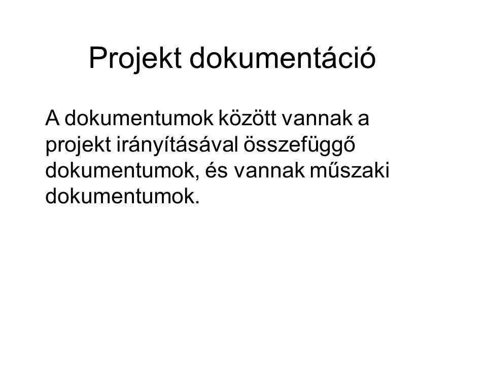 Projekt dokumentáció A dokumentumok között vannak a projekt irányításával összefüggő dokumentumok, és vannak műszaki dokumentumok.