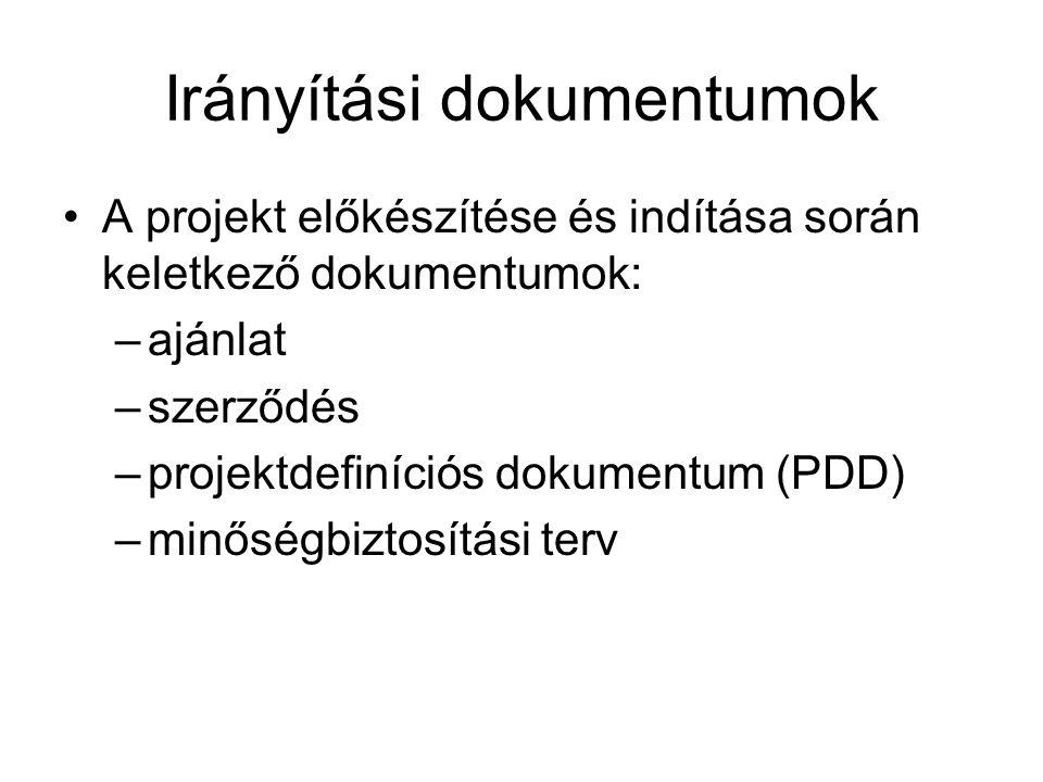 Irányítási dokumentumok A projekt előkészítése és indítása során keletkező dokumentumok: –ajánlat –szerződés –projektdefiníciós dokumentum (PDD) –minő