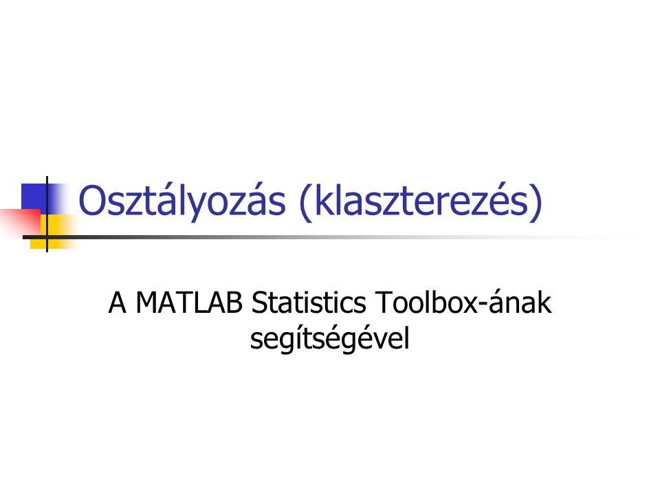 Osztályozás (klaszterezés) A MATLAB Statistics Toolbox-ának segítségével