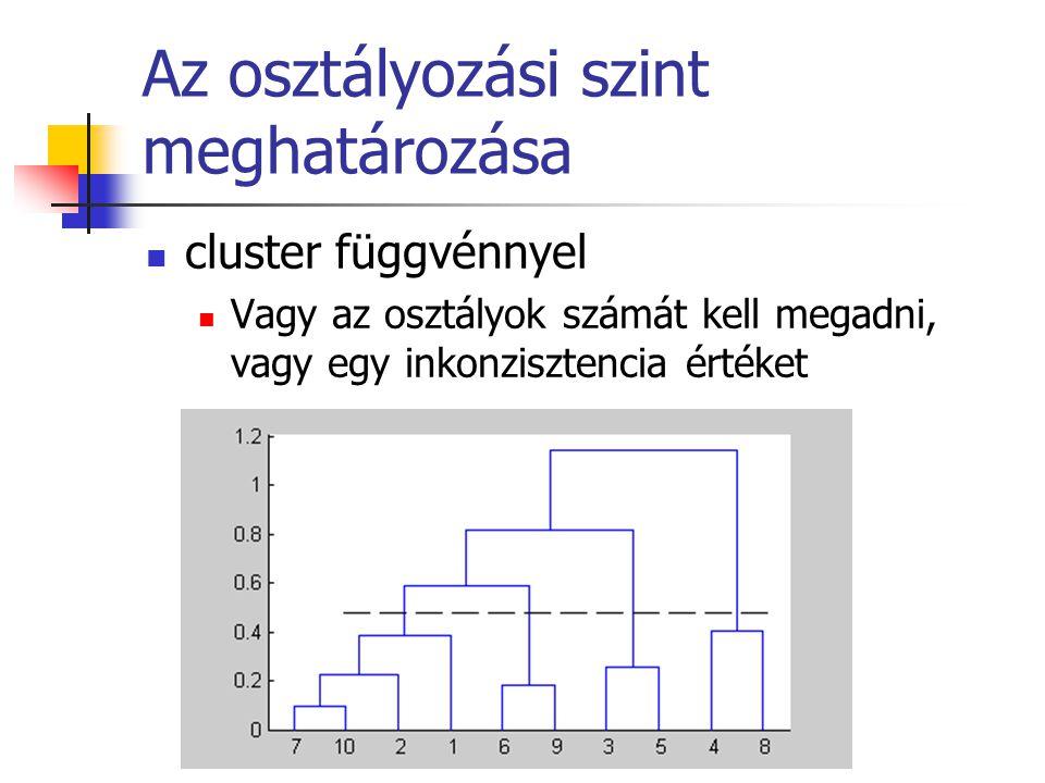 Az osztályozási szint meghatározása cluster függvénnyel Vagy az osztályok számát kell megadni, vagy egy inkonzisztencia értéket