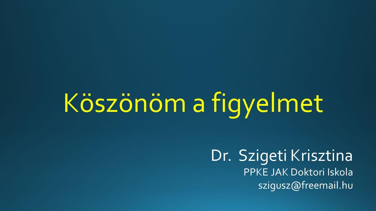 Köszönöm a figyelmet Dr. Szigeti Krisztina PPKE JAK Doktori Iskola szigusz@freemail.hu