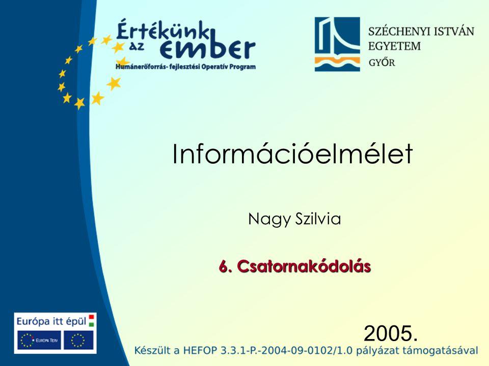 Széchenyi István Egyetem 12 Átvitt információ A csatornán átvitt információ a rá adott információ és a csatorna veszteségének a különbsége: egy X j vételekor az őt előidéző C i -ről nyert átlagos információ.