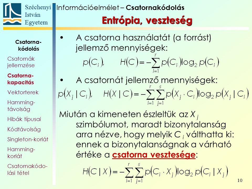 Széchenyi István Egyetem 10 Entrópia, veszteség A csatorna használatát (a forrást) jellemző mennyiségek: A csatornát jellemző mennyiségek: Miután a ki