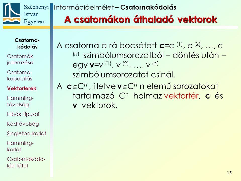 Széchenyi István Egyetem 15 A csatornákon áthaladó vektorok A csatorna a rá bocsátott c =c (1), c (2), …, c (n) szimbólumsorozatból – döntés után – eg