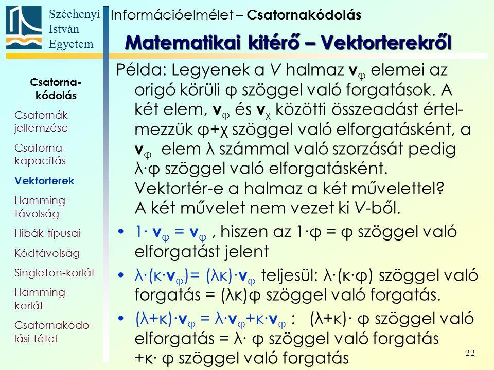 Széchenyi István Egyetem 22 Példa: Legyenek a V halmaz v φ elemei az origó körüli φ szöggel való forgatások. A két elem, v φ és v χ közötti összeadást