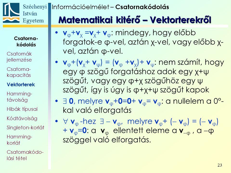 Széchenyi István Egyetem 23 v φ + v χ = v χ + v φ : mindegy, hogy előbb forgatok-e φ-vel, aztán χ-vel, vagy előbb χ- vel, aztán φ-vel. v φ +( v χ + v