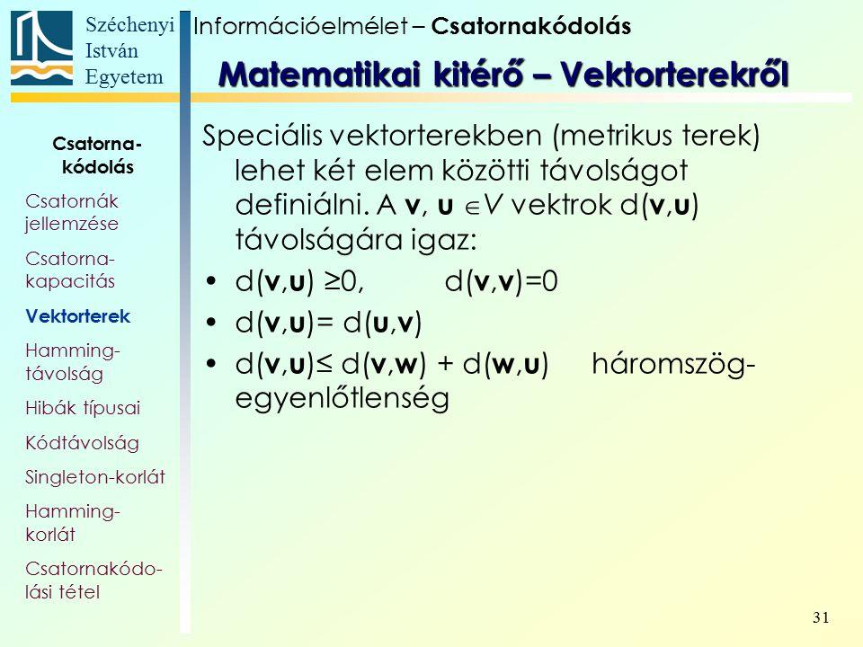 Széchenyi István Egyetem 31 Speciális vektorterekben (metrikus terek) lehet két elem közötti távolságot definiálni. A v, u  V vektrok d( v, u ) távol