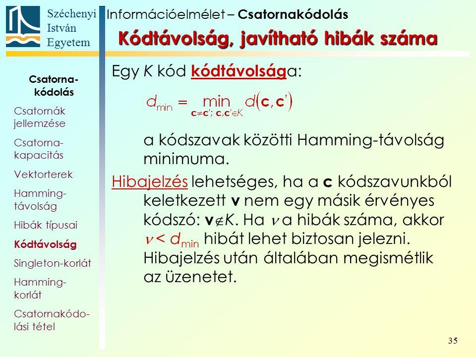 Széchenyi István Egyetem 35 Kódtávolság, javítható hibák száma Egy K kód kódtávolság a: a kódszavak közötti Hamming-távolság minimuma. Hibajelzés lehe